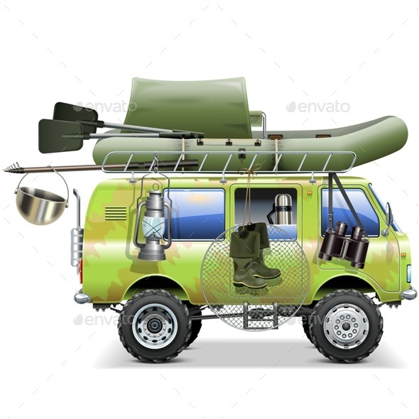 Vector Travel Car with Fishing Accessories - Sports/Activity Conceptual