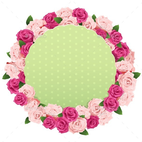 Vector Flower Wreath with Greeting Card - Valentines Seasons/Holidays