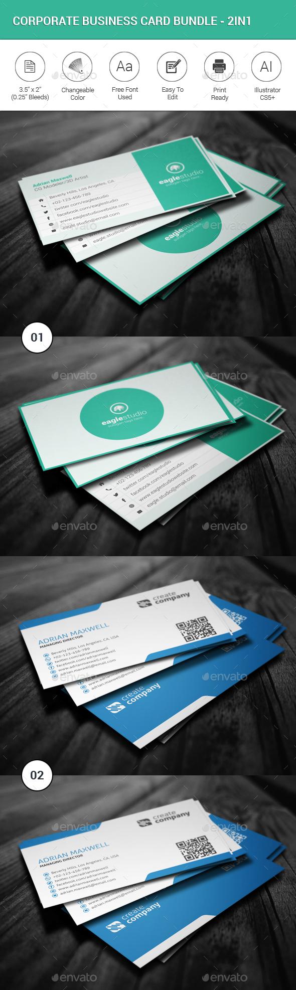 Corporate Business Card Bundle-2in1 - Corporate Business Cards