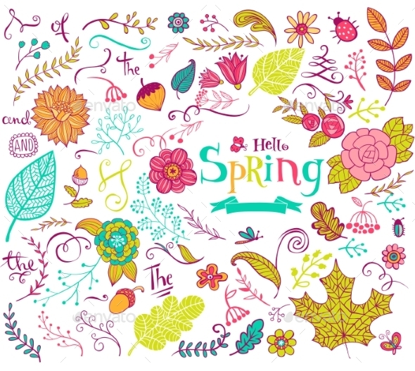 Floral Spring Design Elements In Doodle Style - Flowers & Plants Nature