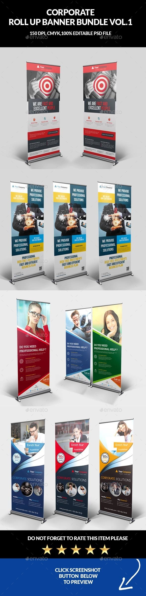 Corporate Roll Up Banner Bundle Vol.1 - Signage Print Templates
