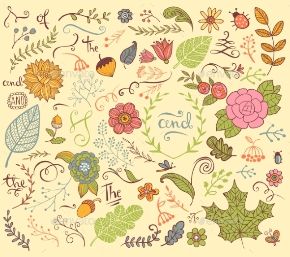 Floral Design Elements In Doodle Style - Flowers & Plants Nature
