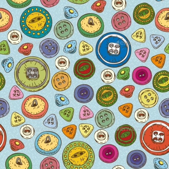 Seamless Pattern With Multicolored Buttons - Patterns Decorative