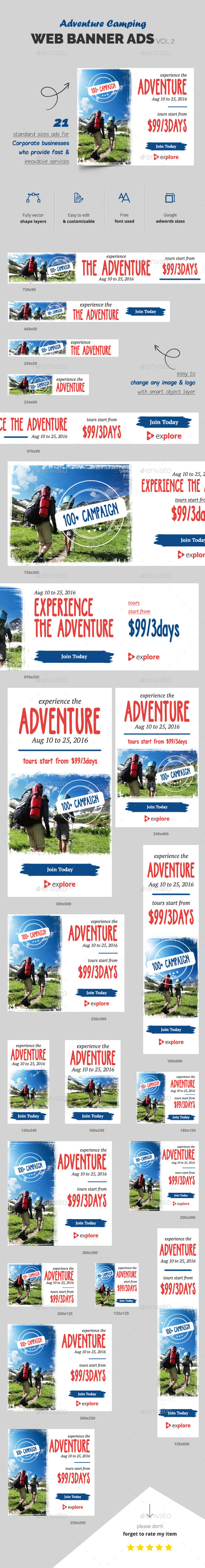 Adventure Camping Web Banner Vol.2 - Banners & Ads Web Elements