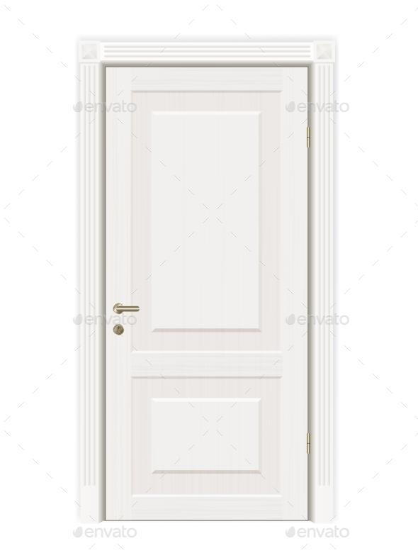 Vector Closed White Door - Objects Vectors