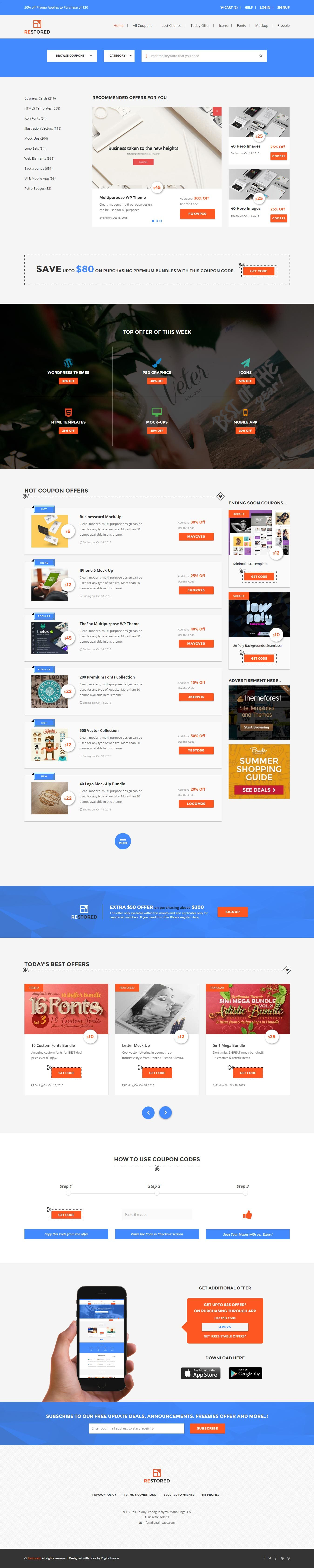 Restored - Market Place,Coupons and Deals HTML Template by DigiSamaritan