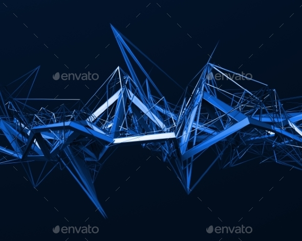 Abstract 3D Rendering Of Chaotic Surface. - Abstract Backgrounds