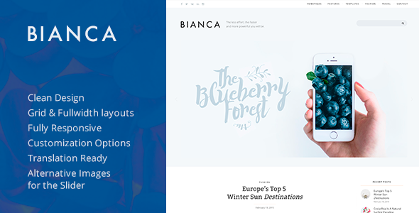 Bianca — Clean Blog WordPress Theme - Personal Blog / Magazine
