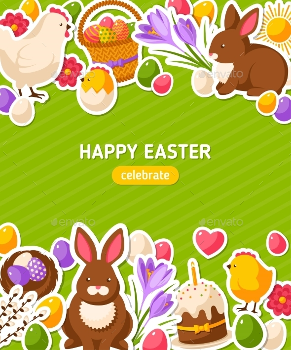 Happy Easter Vertical Banner With Flat Stickers - Miscellaneous Seasons/Holidays