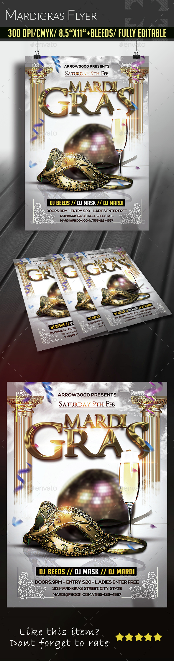 Mardigras Party Flyer - Clubs & Parties Events