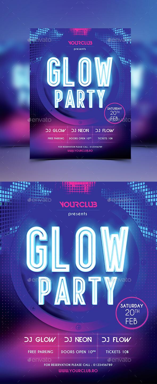 Glow Party Flyer - Flyers Print Templates
