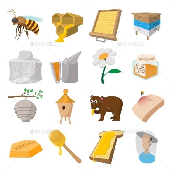 Apiary Cartoon Icons Set - Miscellaneous Icons