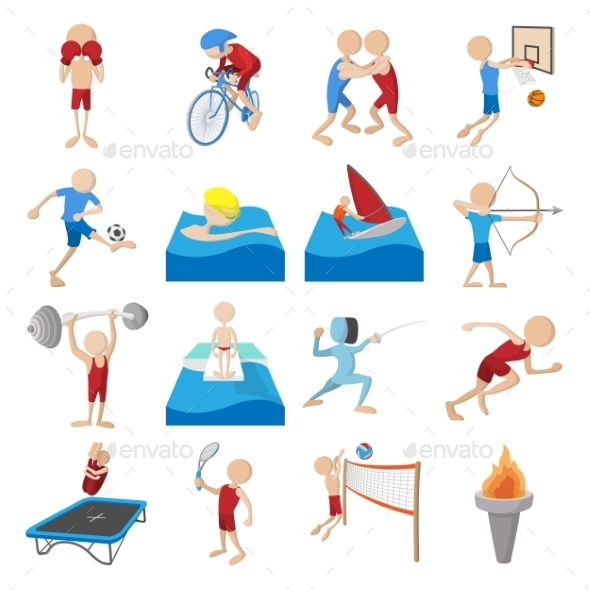 Summer Sport Cartoon Icons Set - Miscellaneous Icons