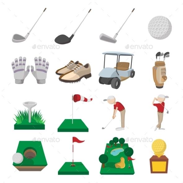 Golf Cartoon Icons Set - Miscellaneous Icons