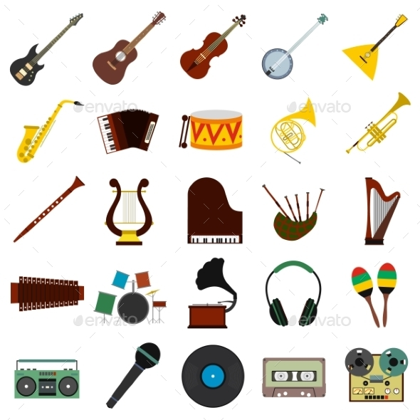 Music Flat Icons Set - Miscellaneous Icons