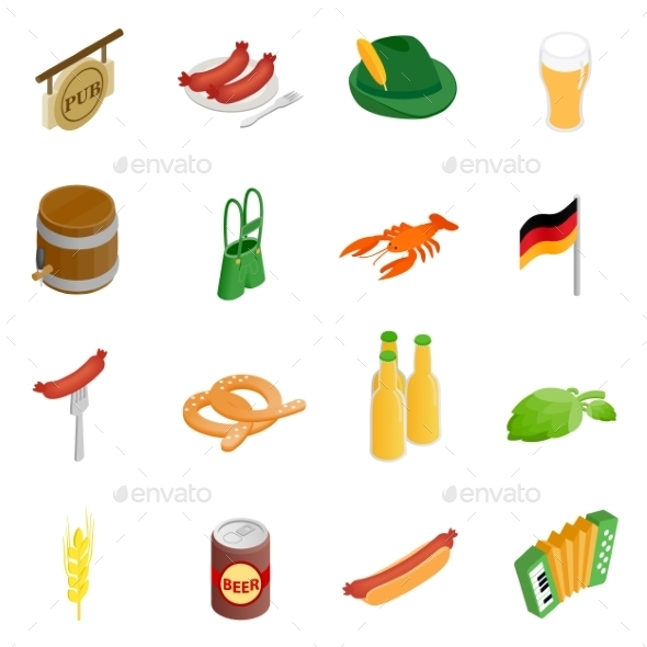Oktoberfest Party Isometric 3d Icons - Miscellaneous Icons