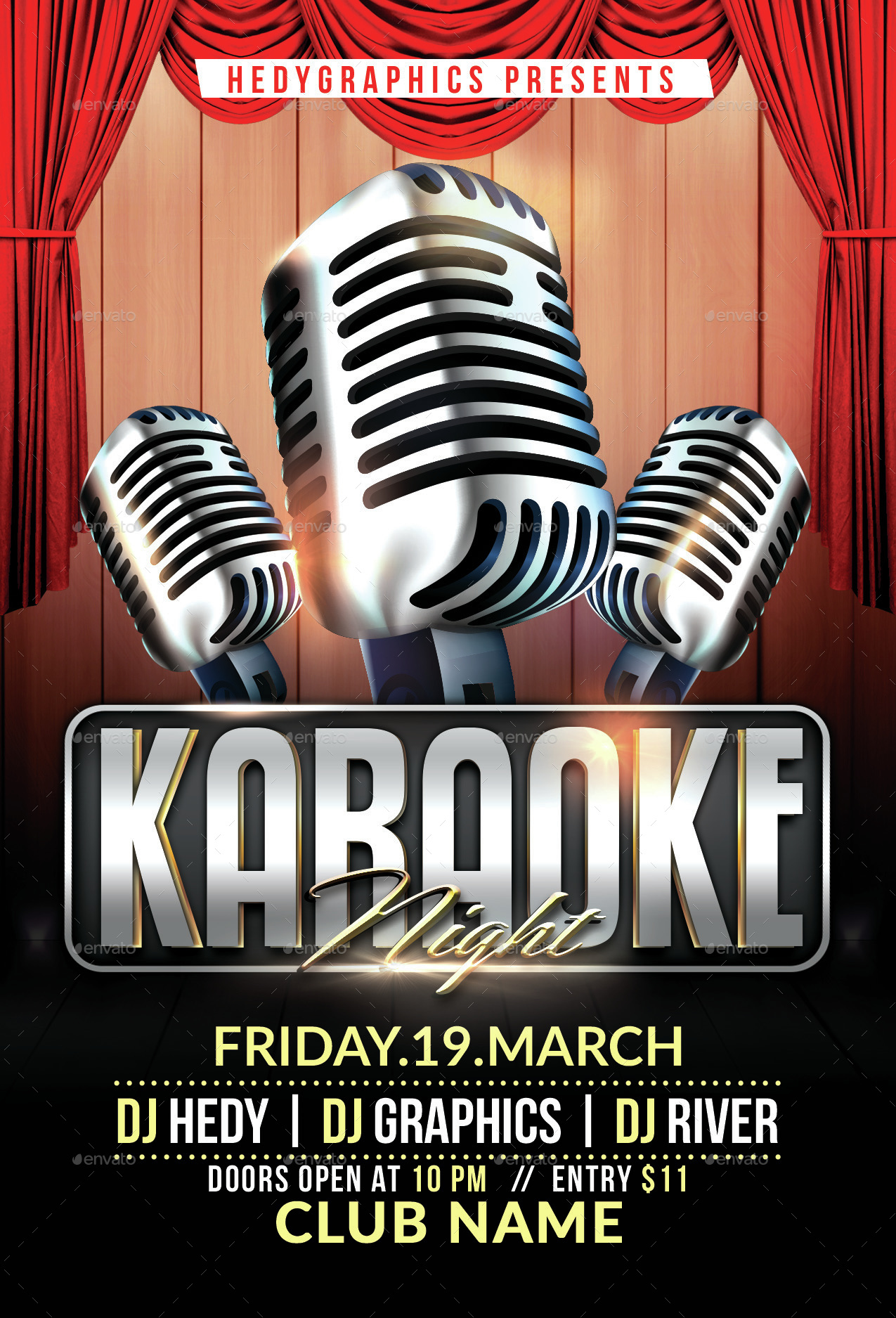Karaoke Flyer Template By Hedygraphics Graphicriver