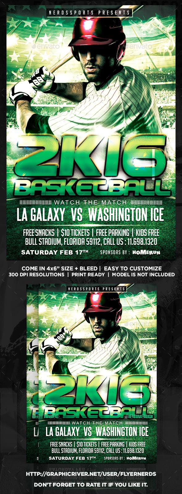 Baseball 2K16 Sports Flyer  - Sports Events