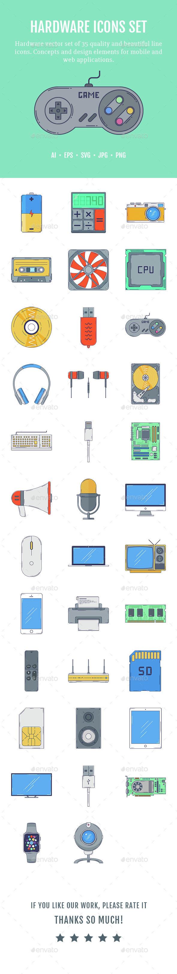 Hardware Icons Set - Technology Icons