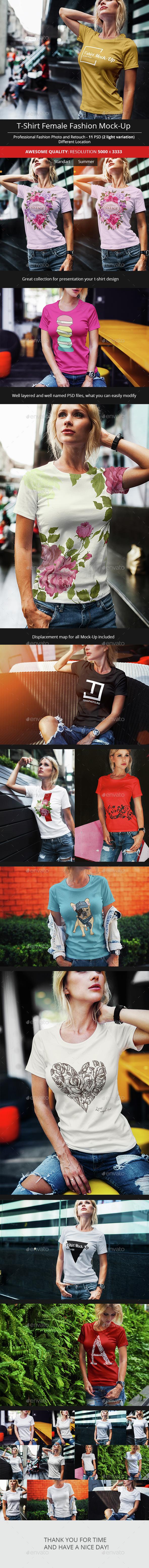 Female T-Shirt Fashion Mock-Up - T-shirts Apparel