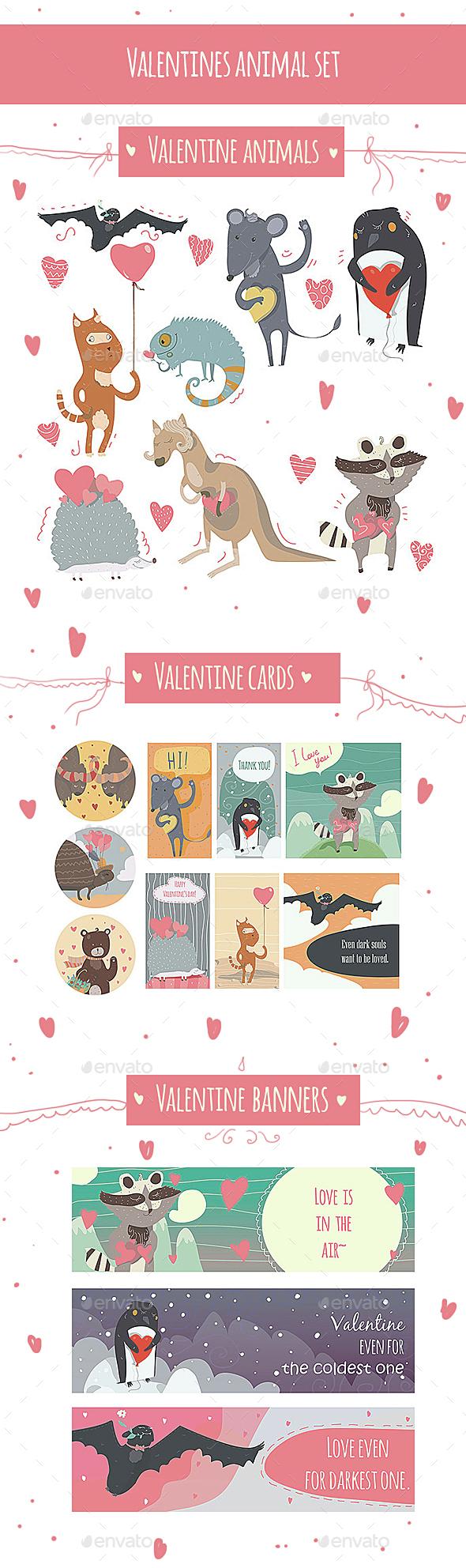 Valentine Animal Set - Valentines Seasons/Holidays