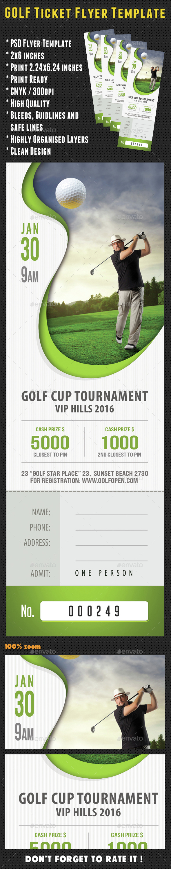 Golf Ticket Template 05 - Sports Events