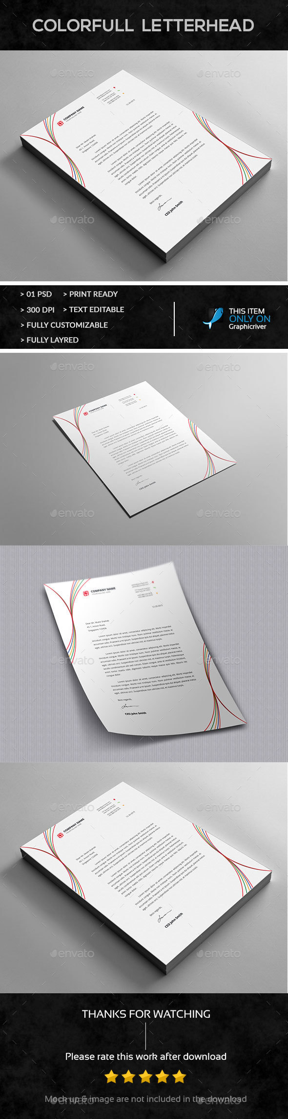 Simple Letterhead Design - Stationery Print Templates