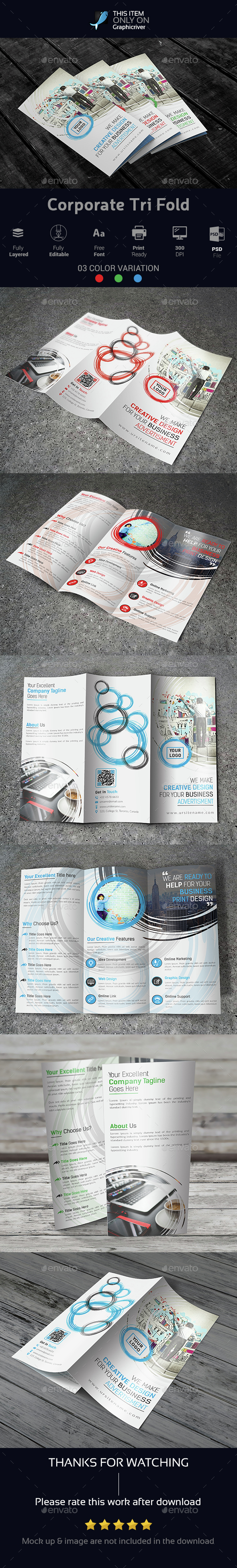 Corporate Tri Fold Brochure 02 - Brochures Print Templates
