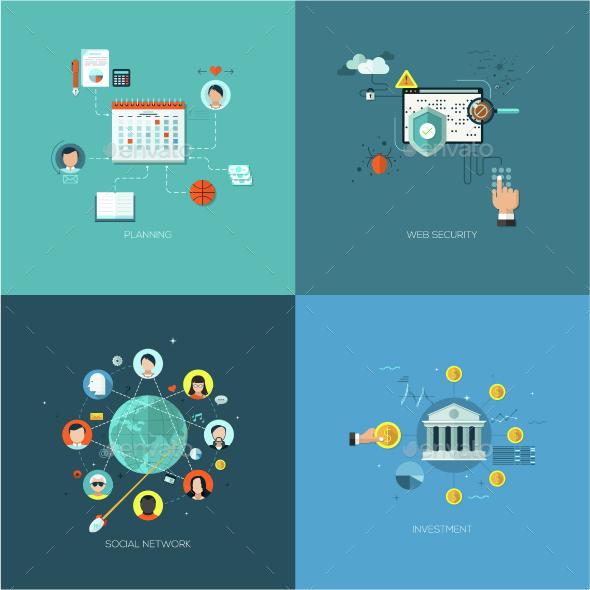 Set of 4 Flat Concepts for Web Design - Concepts Business