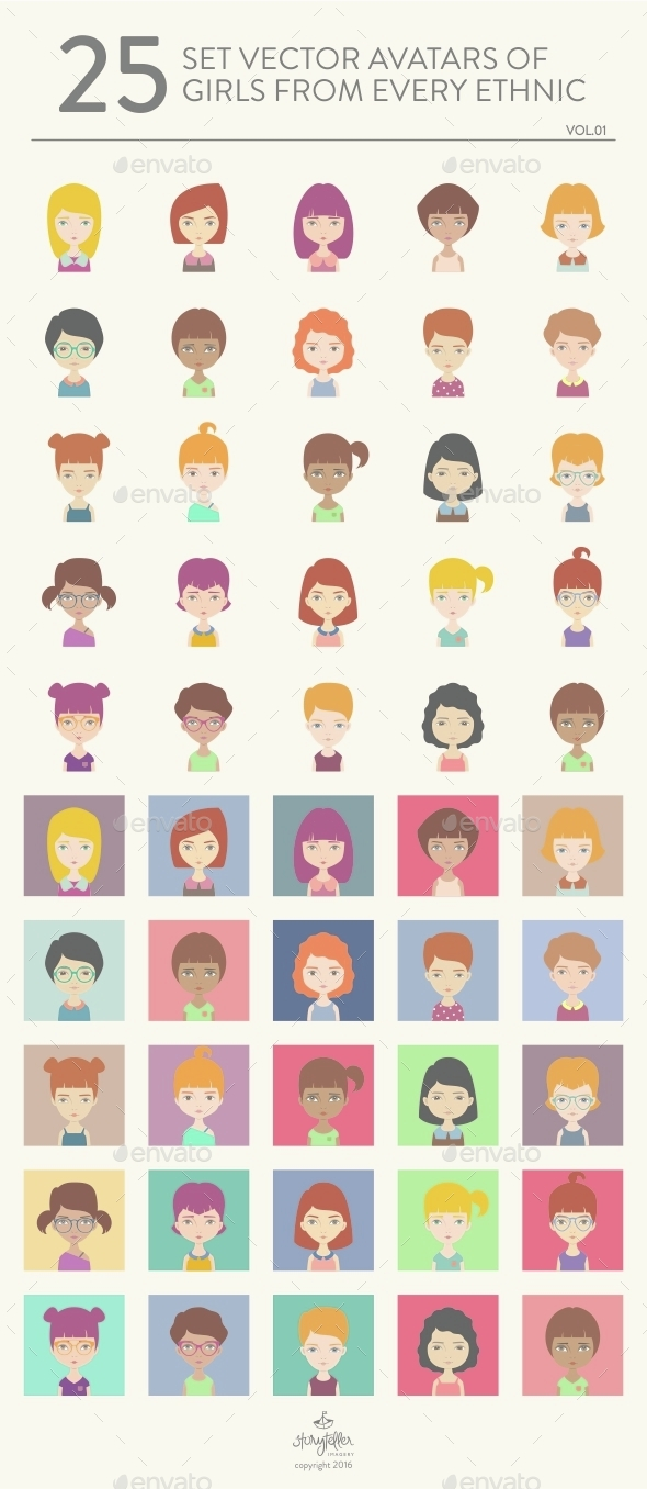 25 Girl Avatars Vol 01 - People Characters