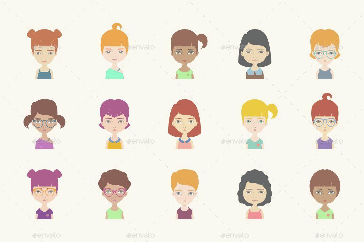 25 Girl Avatars Vol 01 by storyteller_img | GraphicRiver