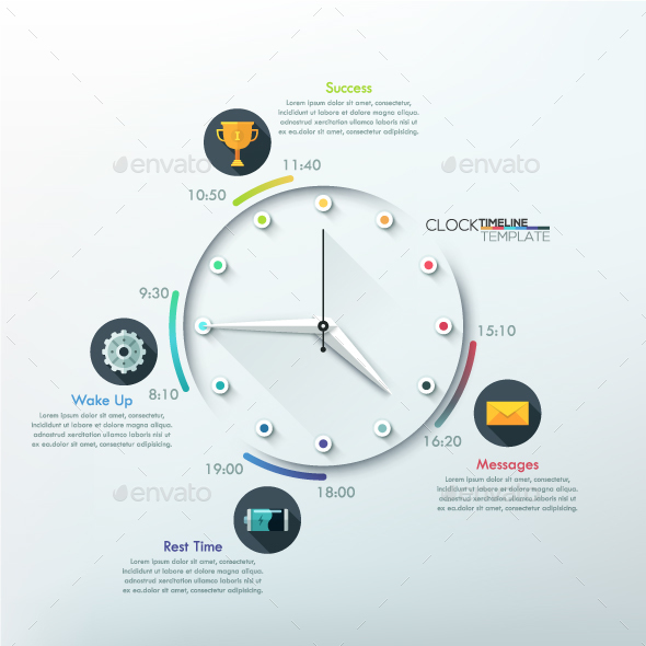 Infographic Timeline Template With Clock - Infographics
