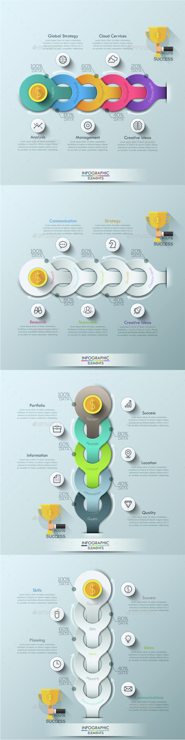 Modern Infographic Process Template (4 Items) - Infographics