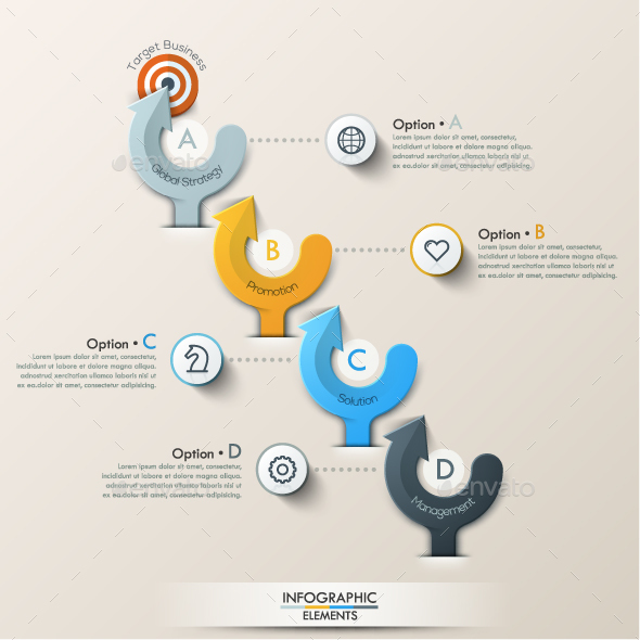 Modern Infographic Paper Arrows Template - Infographics