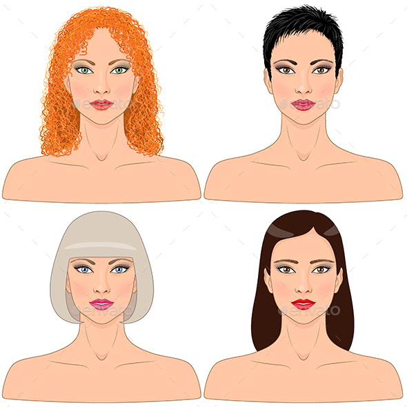 Women with Different Hairstyles - People Characters