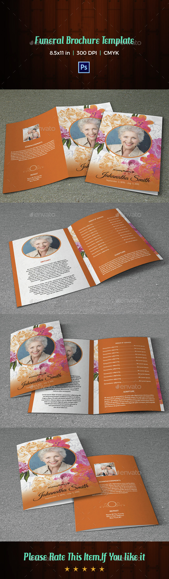Floral Funeral Program Template-V02 - Informational Brochures