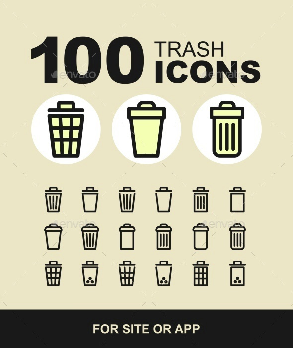 Trash bin icon set - Web Icons