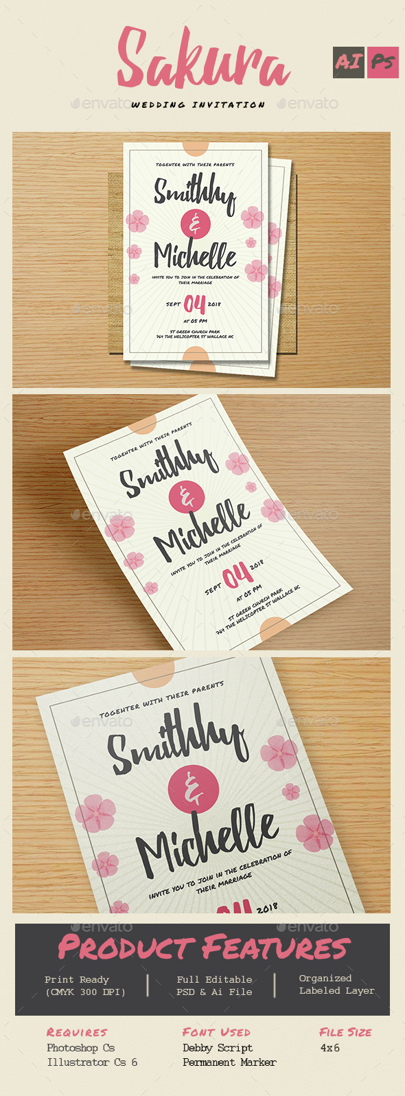 Sakura Wedding Flower Invitation - Weddings Cards & Invites