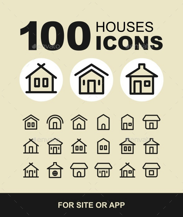 Houses icons set. Real estate. - Buildings Objects