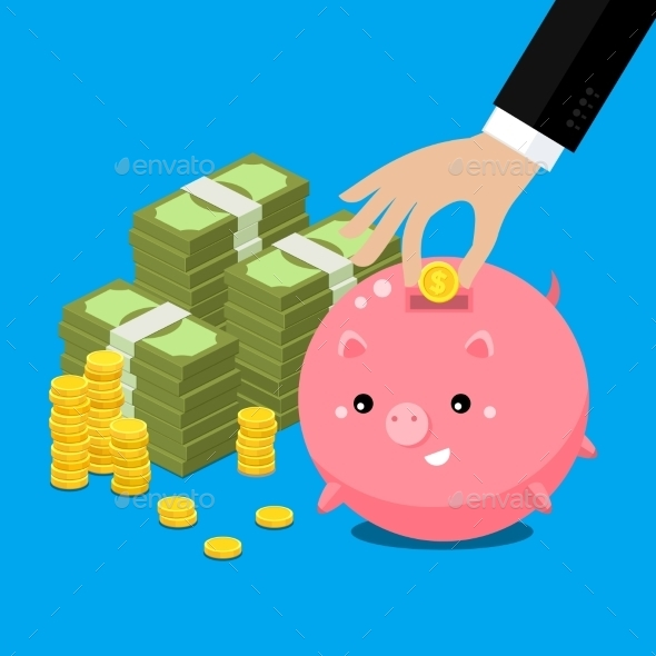 Cute Fat Piggy Bank - Business Conceptual