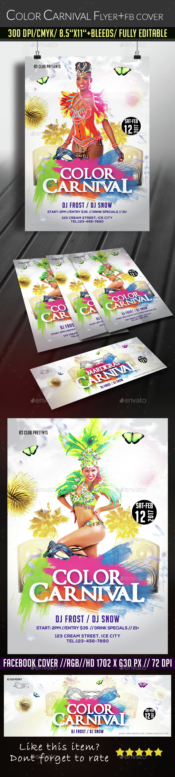 Color Carnival Flyer + Facebook Cover - Clubs & Parties Events