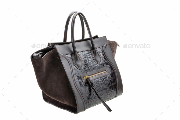 Dark chocolate leather womens bag isolated on white background. - Stock Photo - Images