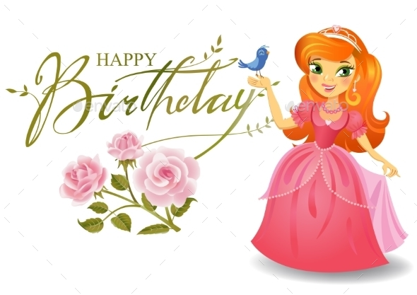 Happy Birthday Princess Greeting Card - Birthdays Seasons/Holidays