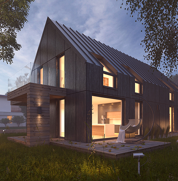Vray Night Scene - Rendering Modern House - 3DOcean Item for Sale