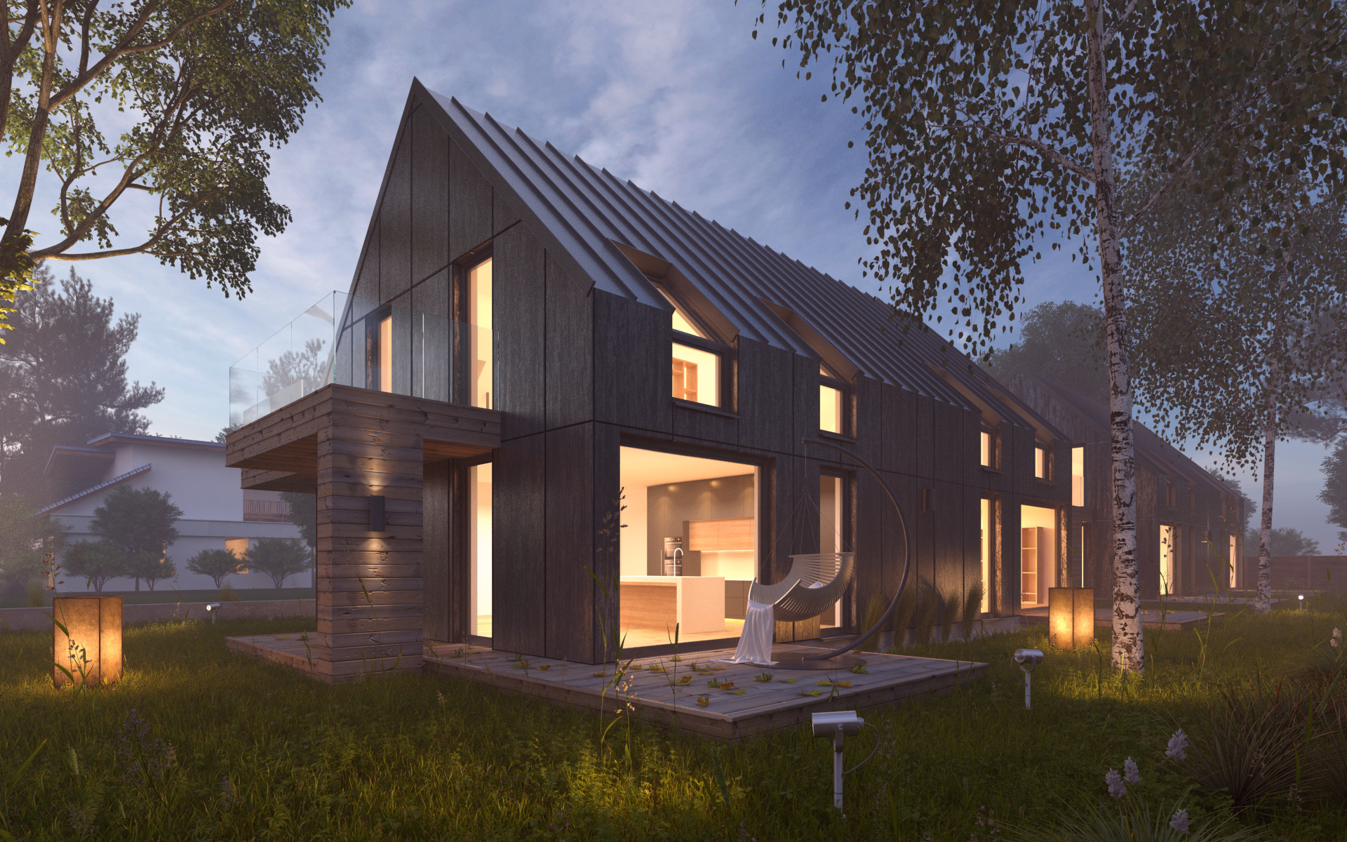 Farm House Floor Plans Vray Night Scene Rendering Modern House By Visualcg