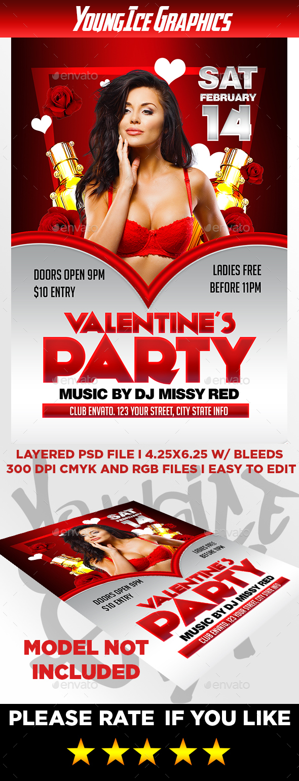 Valentines Party Flyer Template - Clubs & Parties Events