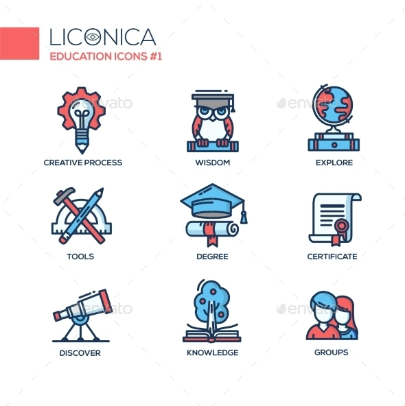 Modern School And Education Thin Line Design Icons - Miscellaneous Conceptual