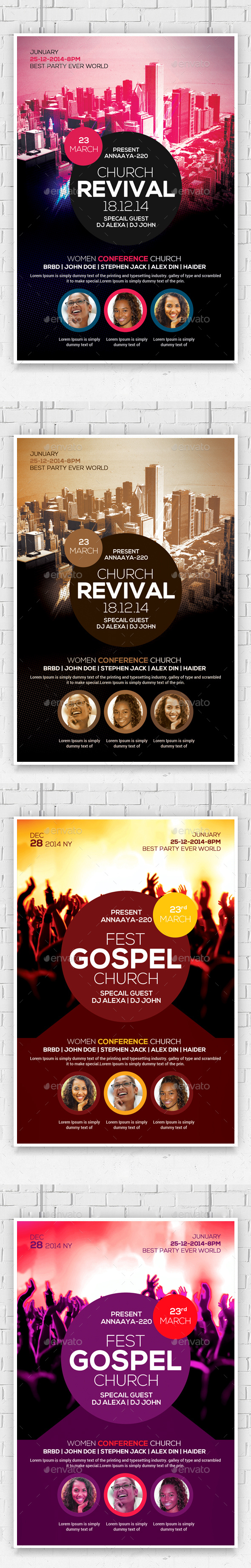 Revival in the City Church Flyers Bundle - Church Flyers