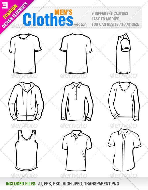 Men's Clothes - Objects Vectors