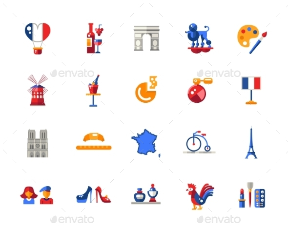 France Travel Icons And Elements - Travel Conceptual